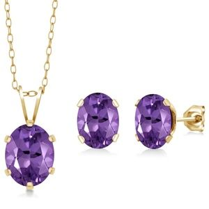 Sterling Silver 2.60 Ct Amethyst Jewelry Set